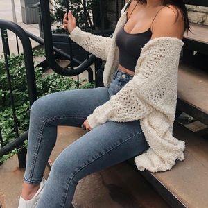 White fuzzy Knit Cardigan With Pockets